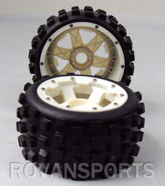 Baja 5B Off Road Race Buggy Rear Tyres x 2pcs Nylon Super Star Wheel Free shipping 85074 baja 5b ii front wheel off road tire assembly