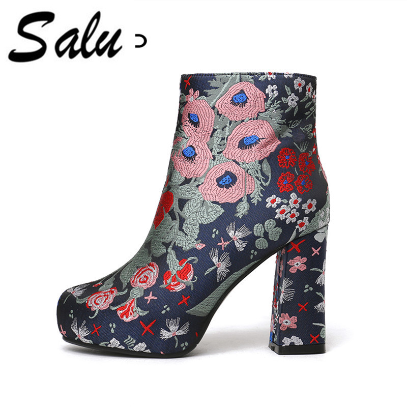 Salu 2018 new Genuine leather Boots Women Sexy High Heel Boots Flower Ankle Boots Platform Shoes Zip fashion Ladies FootwearSalu 2018 new Genuine leather Boots Women Sexy High Heel Boots Flower Ankle Boots Platform Shoes Zip fashion Ladies Footwear