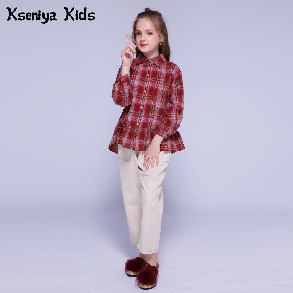 Kseniya Kids Cloths Autumn Winter For Girls Clothing Sets Long Sleeve Blouse+Cotton Trousers 2 Piece Set Baby Girl Clothes