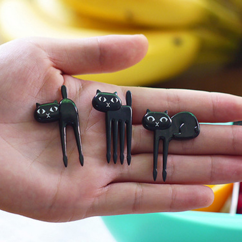 FHEAL New 6Pcs Mini Animal Fork Fruit Picks Cute Cartoon Black Cat Children Fork Toothpick Bento Lunch Box Decor Accessories  (11)