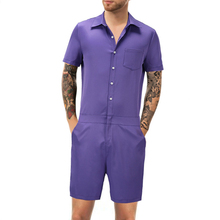 5ee621dbef32 Fashion Men Romper Suit Solid Color Short Sleeve Casual Man Onesies Jumpsuit  Male Overalls One Piece