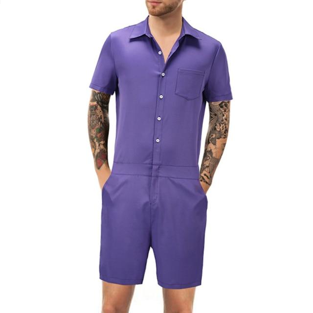 59c1a75755c Fashion Men Romper Suit Solid Color Short Sleeve Casual Man Onesies Jumpsuit  Male Overalls One Piece
