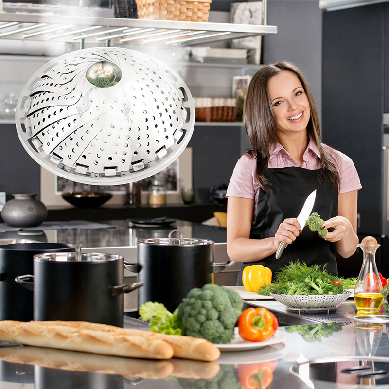 9 Inch Stainless Steel Drain Lotus Pieces Folding Steamer Eco friendly Kitchen Cooking Telescopic Steamer