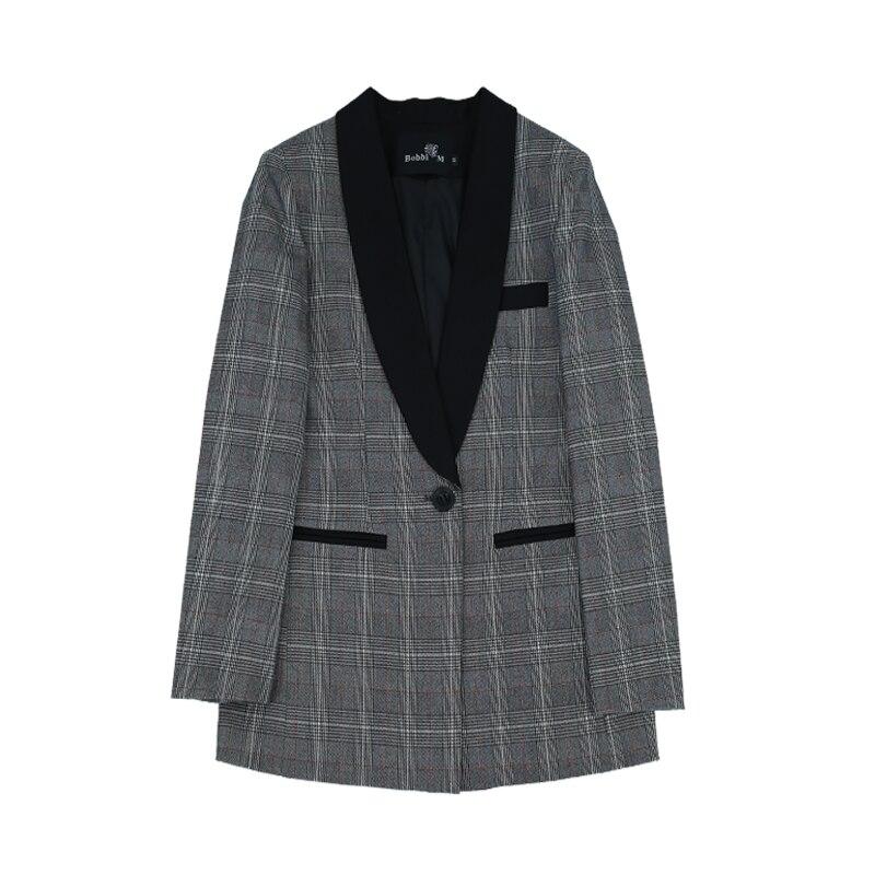 Vintage élégant Long Blazer femmes Plaid costume veste manteau Double boutonnage Blazer Femme poches hauts Outwear Femme 2019