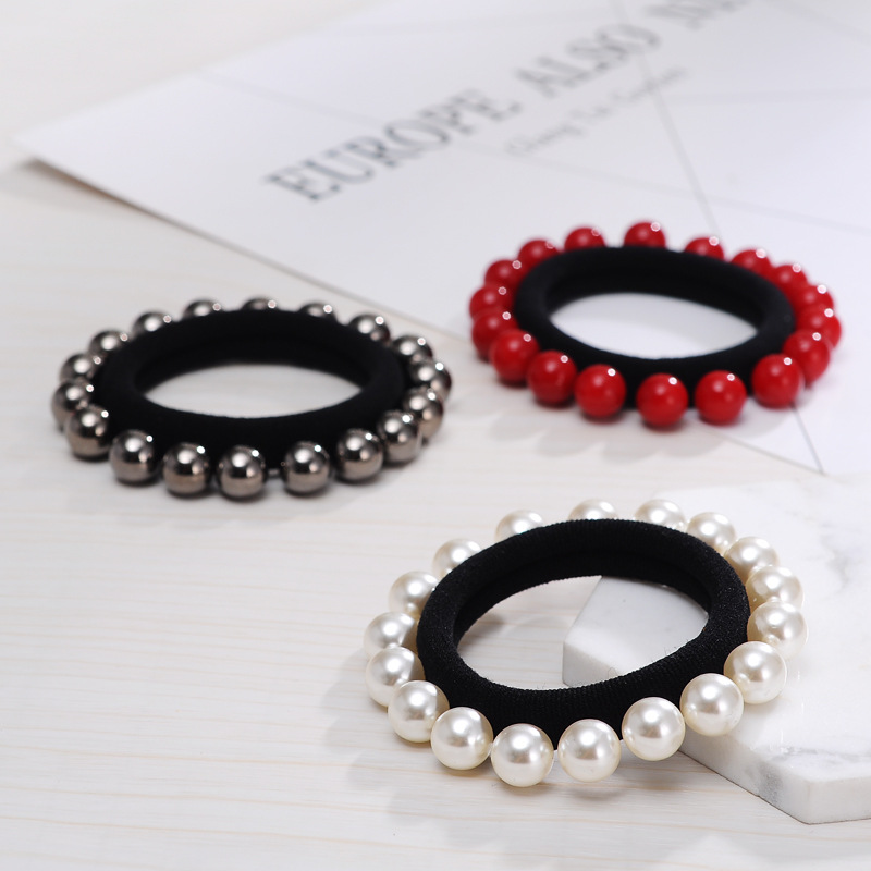1pcs Girls Women Hair Accessories Full Beaded Pearl Headband Rubber Band Tousheng Elastic Hair Ring Bands   Headwear