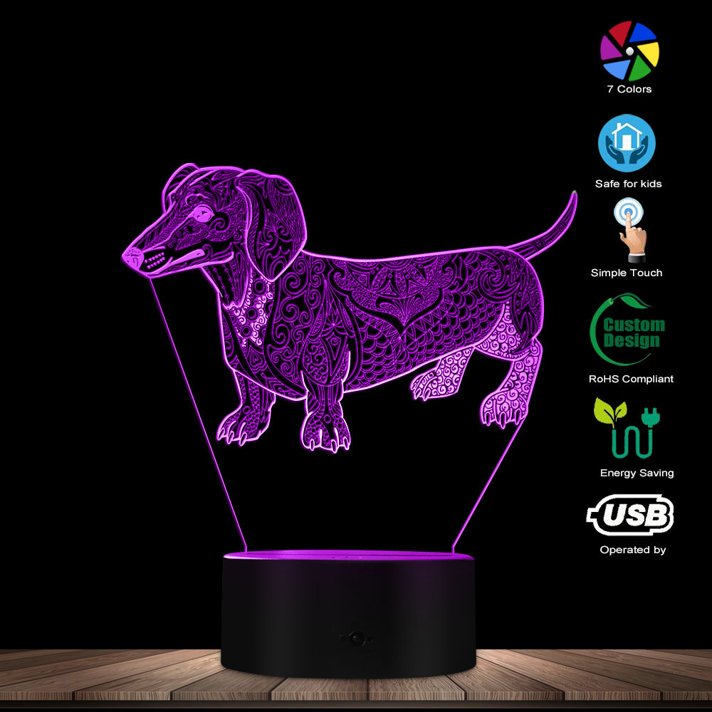 Cute Temperament Abstract Dachshund Dog Custom Name 3D Optical Illusion Light Glowing LED Lamp Pet Lover Owner Lighting Gift