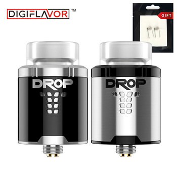Original Digiflavor DROP RDA with 2 pcs Clapton Coils Pack Rebuildable Drip Atomzier Large DIY Coil Deck for Huge Vape Clouds digital clock
