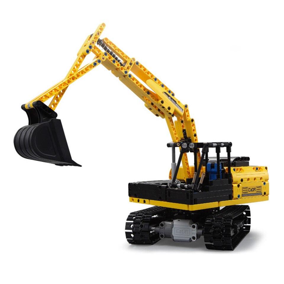 CADA RC حفارة متوافق مع Legoing تكنيك شاحنة اللبنات الأولاد هدية عيد ميلاد عن Controrlled لعب للأطفال-في حواجز من الألعاب والهوايات على  مجموعة 2