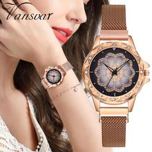 New Lucky Women Watches Flower Starry Sky Ladies Quartz Clock Luxury Magnetic Mesh Female Wristwatch 2019 Best Watch for Gift