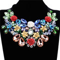 Joyería de Moda encantador Vestido de Noche de la Víspera de Navidad Cinta De Algodón Negro de Cristal Declaración Gargantillas Collares Collar de Flores de Metal