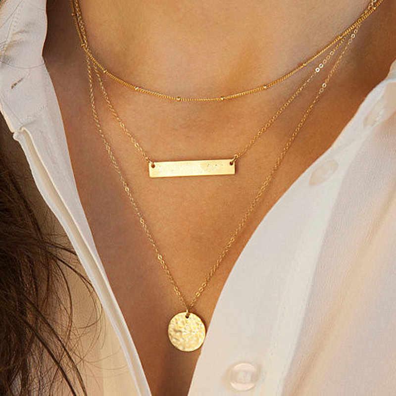 Wielowarstwowe naszyjniki kobiety prosty naszyjnik wisiorek Ornament biżuteria ślubna moda minimalistyczna imitacja pereł Bijoux