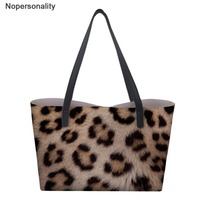 Nopersonality Women's Bag Leopard Print Top Handle Women Handbags Large Capacity Travel Casual bag with Small Wallets Tote Bag