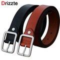 Drizzte Men's Plus Size 130cm 150cm Cow Split Leather Belt Buckle Dress Belts Waistband Black Brown Strap