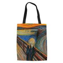 Известный Ван живопись для женщин холст хозяйственные сумки повседневное Tote Экологичные плеча универсальный мешок Лето Леди олилс DIY сумки