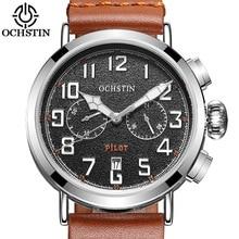 OCHSTIN Fashion Pilot Men Watch Chronograph Military Watch Leather Wrist Watch Men Sports Clock Casual Hour 2017 Quartz Watch
