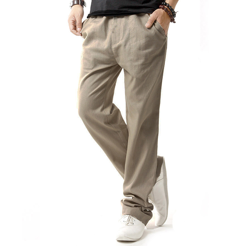 Casual Pants Men Joggers Streetwear Cotton Linen Trousers Men Clothes 2018 Breathable Sw ...