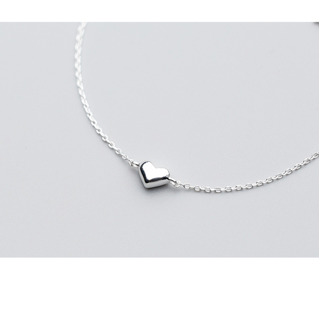 925 Sterling Silver Classic Minimalist Romantic Shiny Heart Bracelet