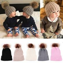 Child Baby Boy Girl Beanie Hat Cap Winter Kid Warm Double Pom Bobble Knit Ski Hat(China)