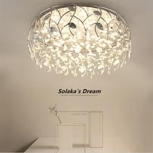 LED light Modern ceiling crystal lights Nordic white body round chandelier for living room bedroom Fixtures Novelty lamps