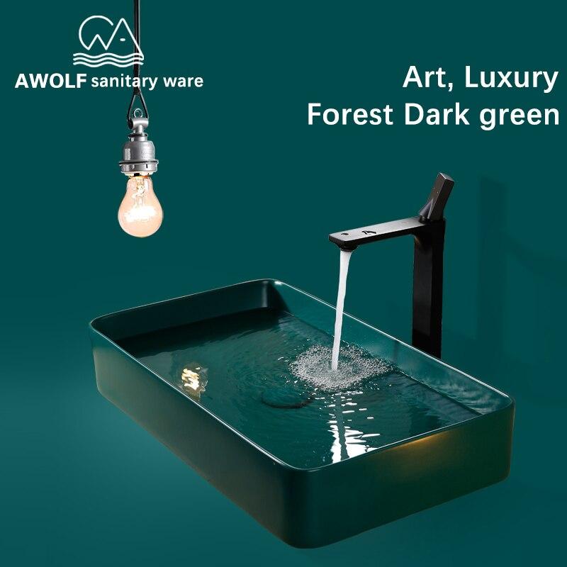 Bathroom Sinks Art Ceramic Vessel Hand Made Luxury Modern Dark Green Washing Basin Sink With Pop Up Drain Solf HoseSet AM802
