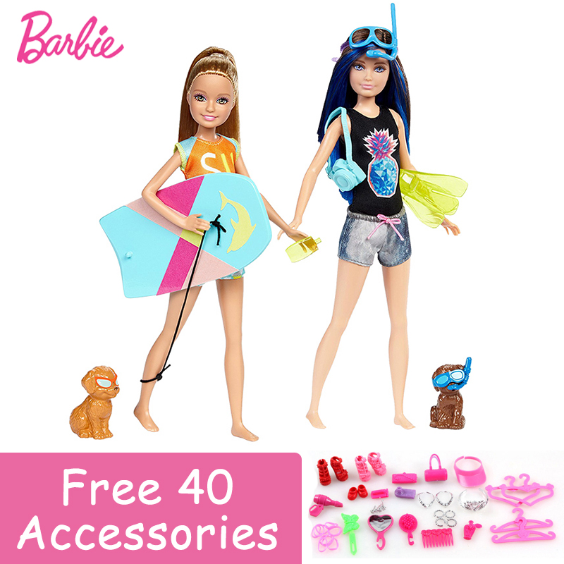 Barbie Authorize Brand Doll Toy Dolphin Magic Skipper with Puppy Fashion Doll Diving Toy For Kid Birthday Collection Gift original barbie dolls skipper dolphin magic adventure doll with clothin babies boneca brinquedos toys for children birthday gift