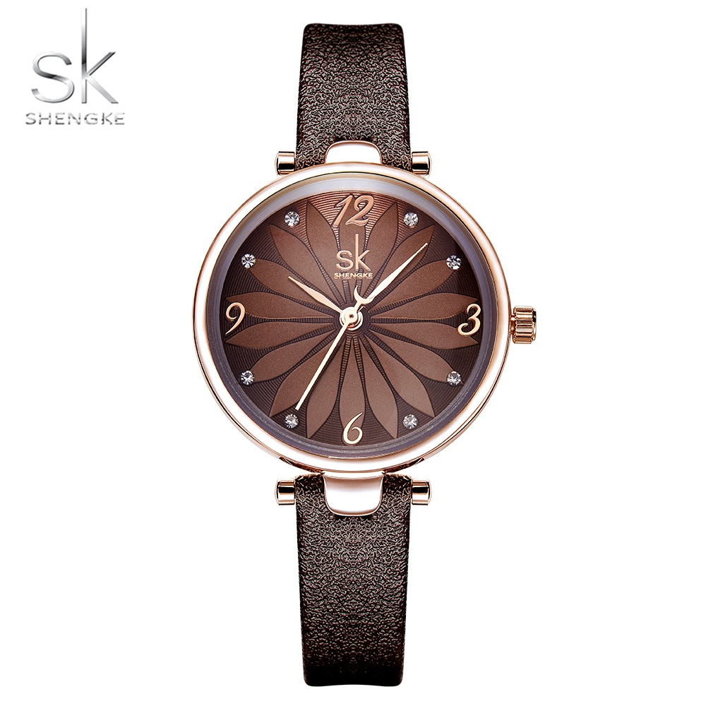 Shengke New Coffee Black Leather Strap Women Watch Crystal Flower Decoration Dial Gift Quartz Casual Wristwatch Relogio Feminino