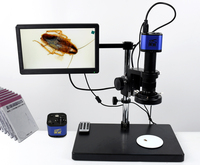 1080P Industrial Microscope Camera HDMI USB Outputs with 200X C mount Lens and 52 LED Light Microscopes