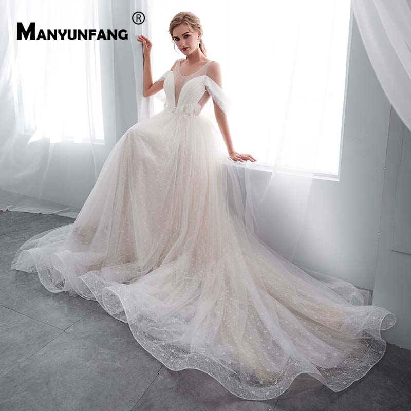Romantic Real Pictures Robe De Mariee 2019 Batwing Sleeve Dress Wedding Gown Lace Up Back Court Train Simple Wedding Dress