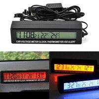 3 1 자동차 잠금 LCD 화면 자동차 온도계 전압계 배터리 전압 온도 모니터 미터 시계 자동차 EC88