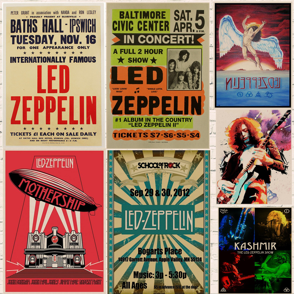 Led Zeppelin Rock Music Posters Home Decoration Vintage Style Wall Stickers Abooly Brand Buy 3 Get 4