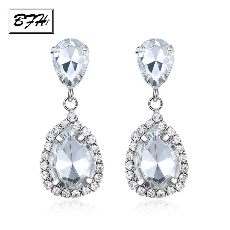 BFH New Korean Fashion Sparkling Rhinestones Drop Earrings for Women Girl Wedding Party Charm Zircon Silver Earring Jewelry Gift