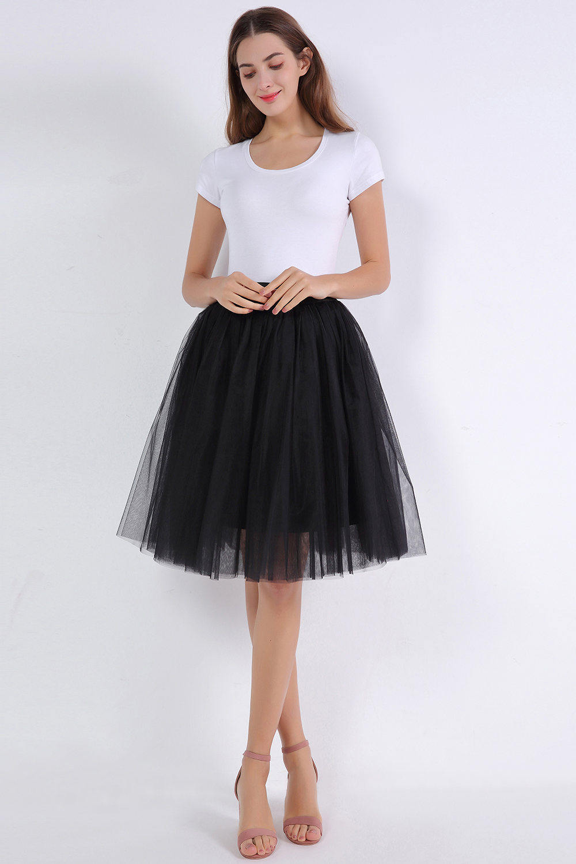 Rockabilly White Black Short Tulle Wedding Bridal Petticoat Crinoline Woman Tutu Skirt Wedding Accessories jupon mariage
