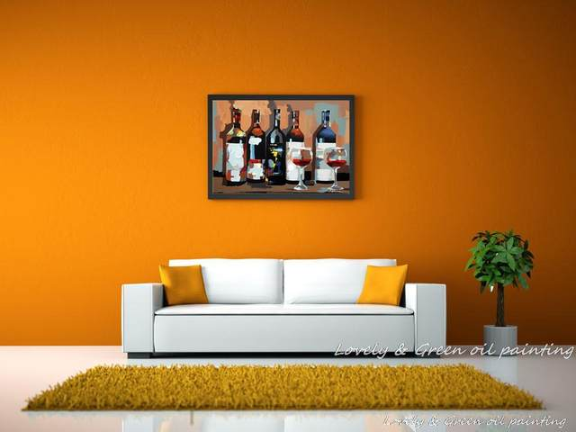 Online Shop Pure Hand Painting Wine Glass Oil Painting Canvas ...