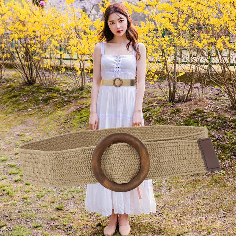 Круглая деревянная Пряжка платье пояс для женщин Повседневное женский Плетеный широкий ремень женский повседневного дизайна из плетеной ткани девушки эластичный PP Соломенные ремни 111