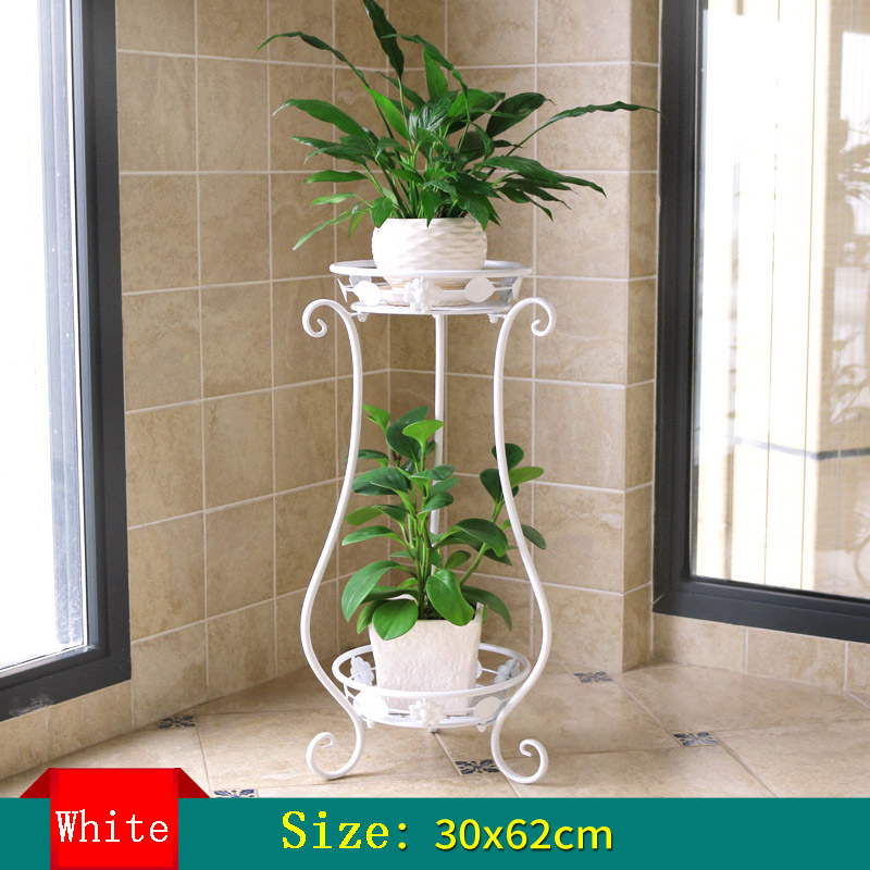 Iron Plant Shelves European flower balcony Double-deck Plant frame Living room Indoor Floor type Green fleshy Flower Shelf цена