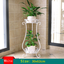 Iron  Plant Shelves European flower balcony Double-deck Plant frame Living room Indoor Floor type Green fleshy Flower Shelf