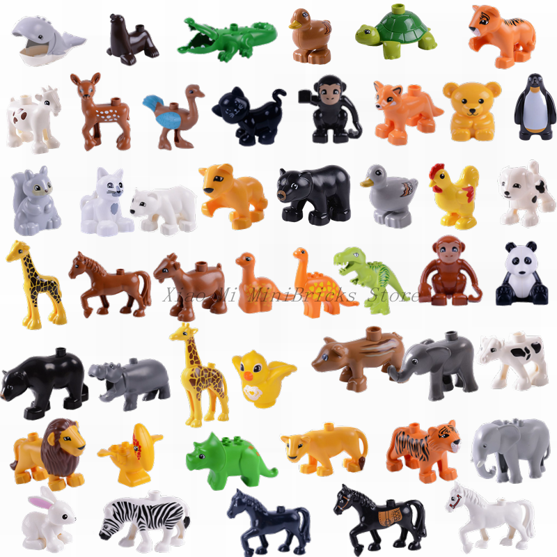 Locking Duploe Animal Series Model Figures Big Building Blocks Animals Educational Toys For Children Gift Lockings Dinosaur Toys