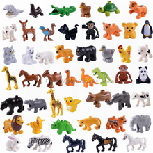 Legoing Duploe Animal Series Model Figures Big Building Blocks Animals Educational Toys For Children Gift Legoings Dinosaur Toys(China)