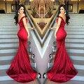 Impresionante Red Sirena Vestidos de Noche 2017 Del Hombro de Novia Satén Atractivo Backless Prom Vestidos Del Partido vestido de festa