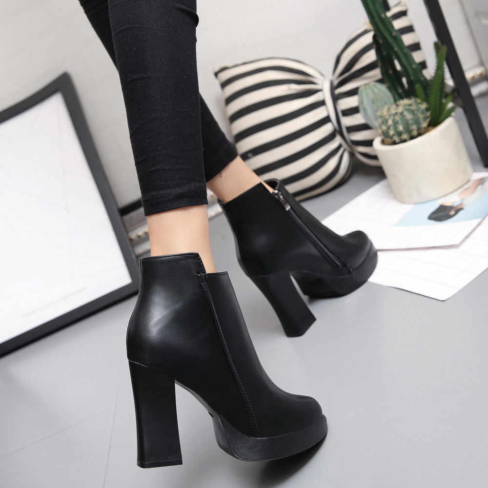 0c79c615bcb ... Indira New Arrival High Quality Winter High Heel Boots Pointed Martin  Boots Short Thick Short Boot