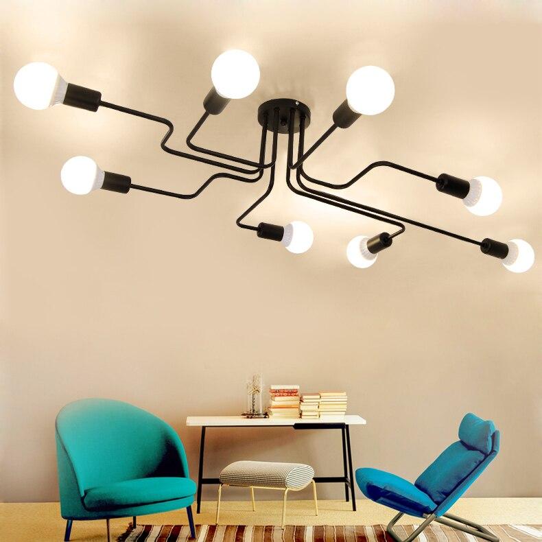 Modern Ceiling Lights Loft Spider E27 Lamp Creative Wrought Iron fixtures Home lighting Multiple ding room bedroom