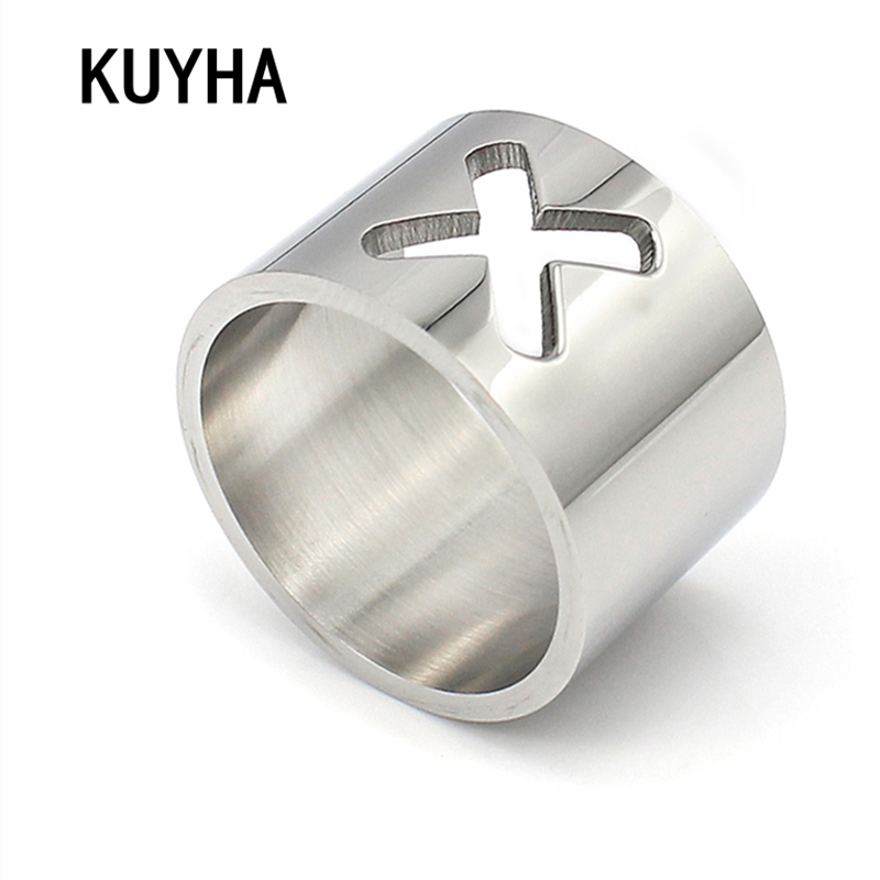 Stainless Steel Silver Finger Rings Engravable Customizable Cross Ring For Women Trendy Fine Jewelry Gift Bague Cible