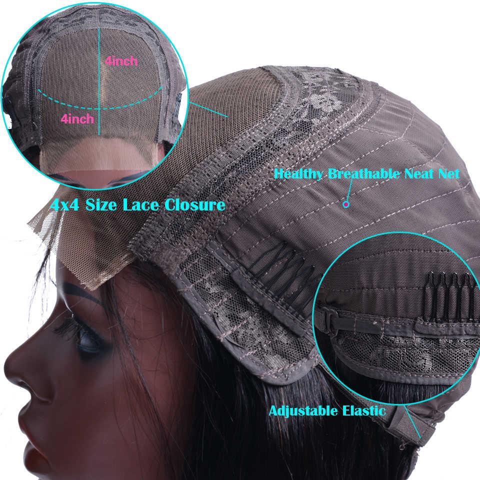 Малайзии Прямые Синтетические волосы на кружеве парики человеческих волос с предварительно выщипанные волосы 150% Плотность Прямо Синтетические волосы на кружеве парик