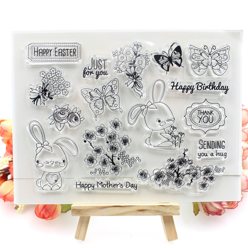 Lovely Rabbit Transparent Clear Silicone Stamp/Seal for DIY scrapbooking/photo album Decorative clear stamp sheets about lovely baby design transparent clear silicone stamp seal for diy scrapbooking photo album clear stamp paper craft cl 052