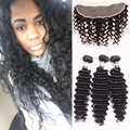 Brazilian Deep Wave Frontal With 3 Bundles Lace Deep Wave Frontal With Bundles Weave Deep Curly Brazilian Hair With Frontal Nice