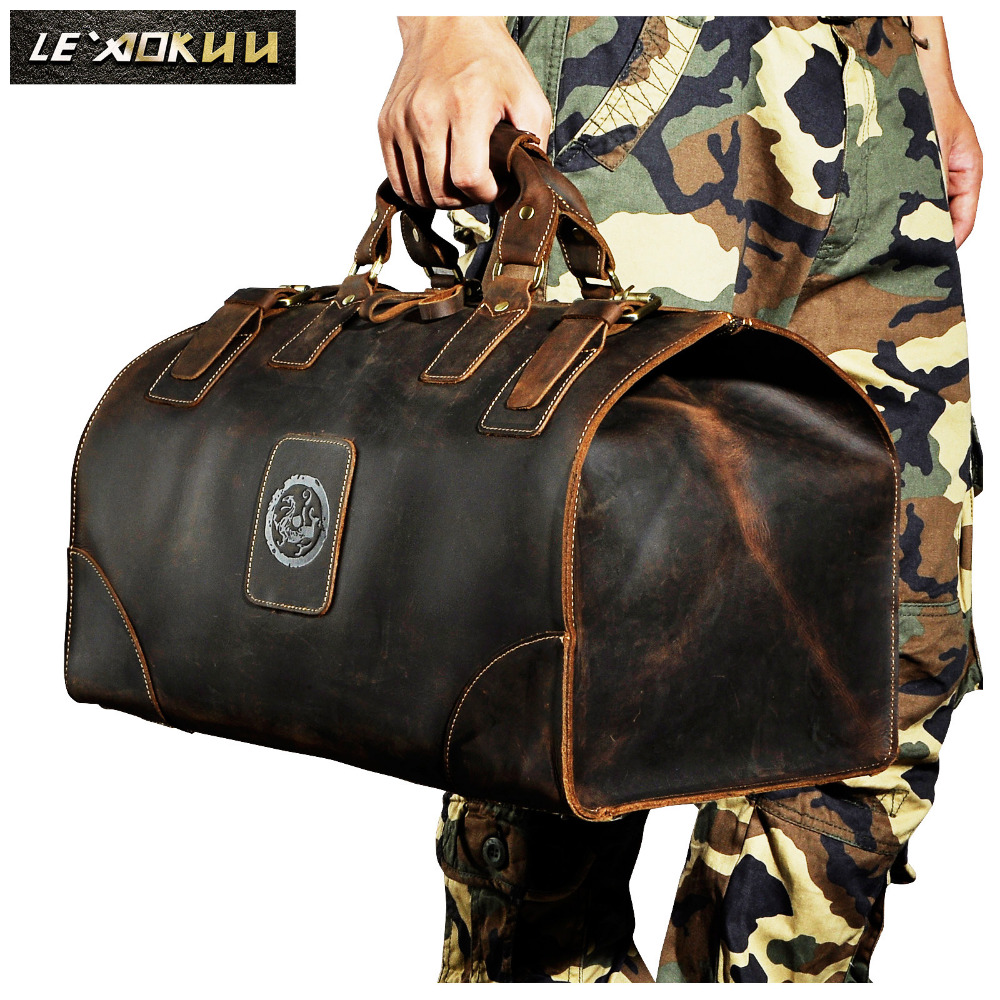 Quality Crazy Horse Leather Male Larger Capacity Retro Design Handbag Duffle Luggage Bag Fashion Travel Suitcase Tote Bag 8151Quality Crazy Horse Leather Male Larger Capacity Retro Design Handbag Duffle Luggage Bag Fashion Travel Suitcase Tote Bag 8151