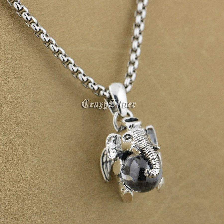 925 Sterling Silver Lovely Dumbo White CZ Stone Fashion Pendant 9S007 Stainless Steel Necklace 24 inch 925 sterling silver lovely dumbo white cz stone pendant 9s107a 92 5