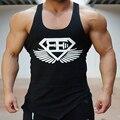 Новый 2016 мода хлопок рукавов футболки майка мужчин Фитнес рубашка мужская синглетный Бодибилдинг Плюс размер gymvest фитнес мужчины