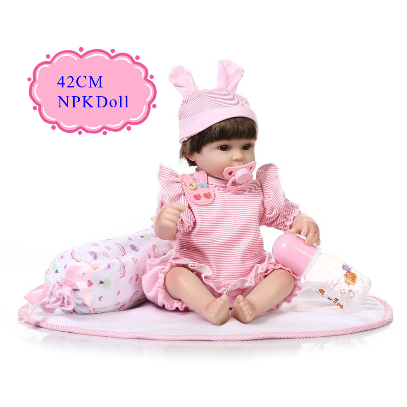 Original Chinese 42cm 17'' Silicone Baby Doll With Soft Hair Unique Bebe Reborn Menina Best Simulation Girl Doll For Kids As Toy good price 45cm 18inch reborn baby girl doll with light blue race dress fashion brinquedo de bebe for kids as christmas doll toy