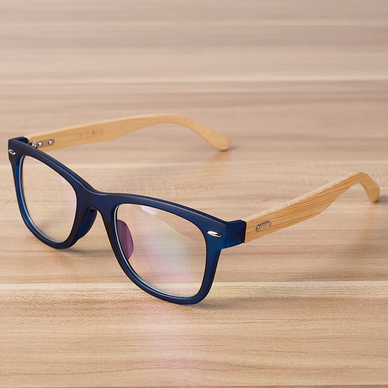 Koreansk Fashion Eye Briller Ramme Clear Lens Optiske Briller Wooden Bamboo Black Blue Eyewear Frames Spectacle for Women Men